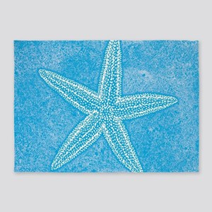 Aqua Blue Starfish 5'x7'Area Rug