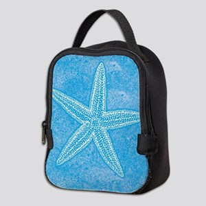 Aqua Blue Starfish Neoprene Lunch Bag
