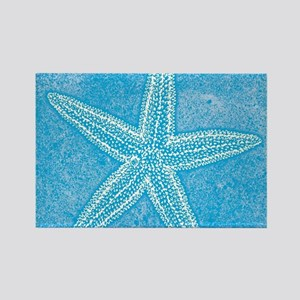 Aqua Blue Starfish Rectangle Magnet