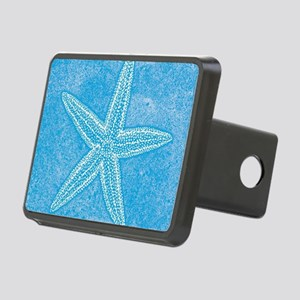 Aqua Blue Starfish Rectangular Hitch Cover