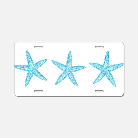 Aqua Blue Starfish Aluminum License Plate