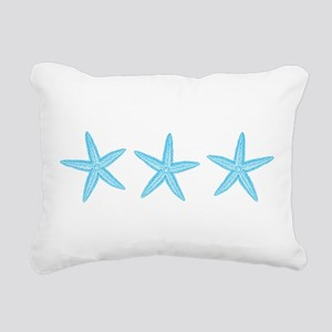 Aqua Blue Starfish Rectangular Canvas Pillow