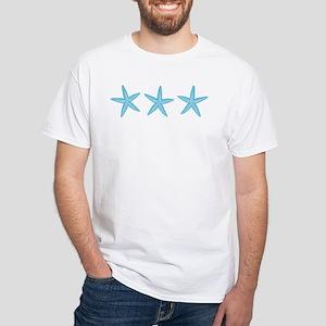 Aqua Blue Starfish White T-Shirt