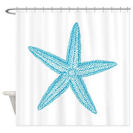 Aqua Blue Starfish Shower Curtain by trendyteeshirts