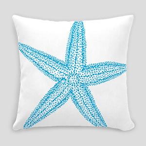 Aqua Blue Starfish Everyday Pillow