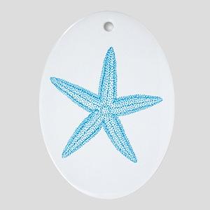 Aqua Blue Starfish Ornament (Oval)