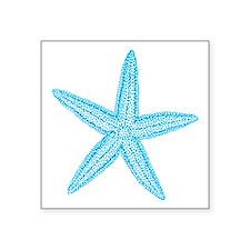 Aqua Blue Starfish Square Sticker 3