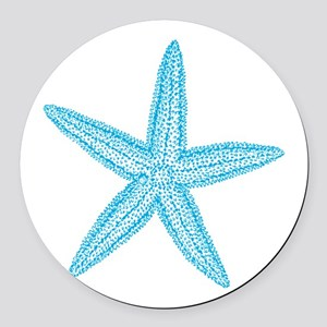 Aqua Blue Starfish Round Car Magnet