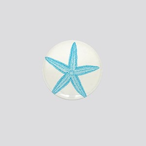 Aqua Blue Starfish Mini Button