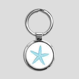 Aqua Blue Starfish Round Keychain