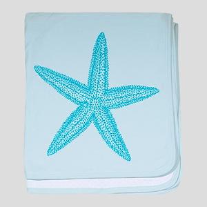 Aqua Blue Starfish baby blanket