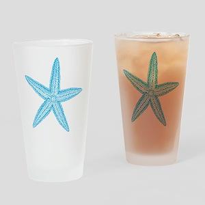 Aqua Blue Starfish Drinking Glass