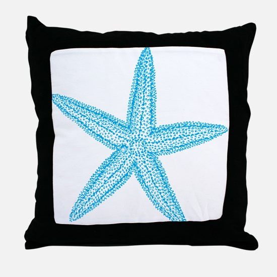 Aqua Blue Starfish Throw Pillow