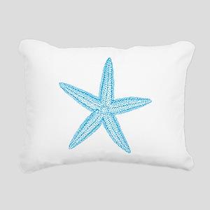 Aqua Blue Starfish Rectangular Canvas Pillow
