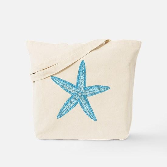 Aqua Blue Starfish Tote Bag