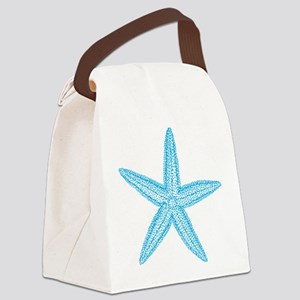 Aqua Blue Starfish Canvas Lunch Bag