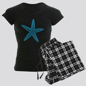 Aqua Blue Starfish Women's Dark Pajamas
