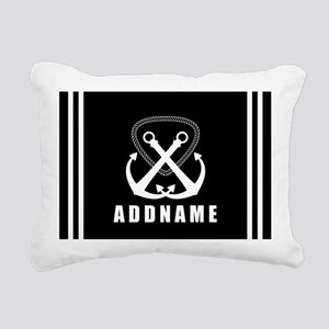 Black and White Double A Rectangular Canvas Pillow