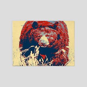 mountain wildlife grizzly bear 5'x7'Area Rug