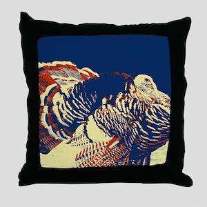 vintage american wild turkey Throw Pillow