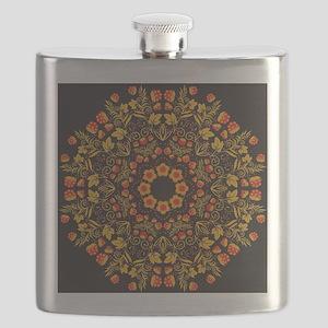 Russian traditional circular pattern mandala Flask