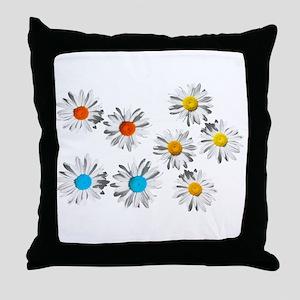 lovely eight daisy flowers photo art. Throw Pillow