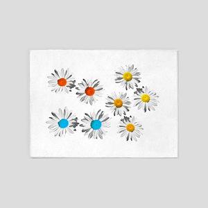 lovely eight daisy flowers photo art. 5'x7'Area Ru