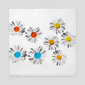 lovely eight daisy flowers photo art. Queen Duvet