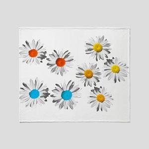 lovely eight daisy flowers photo art. Throw Blanke