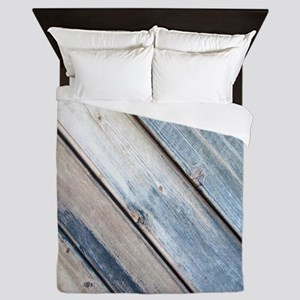 rustic primitive grey barn wood Queen Duvet