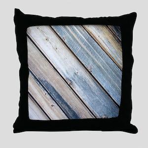 rustic primitive grey barn wood Throw Pillow