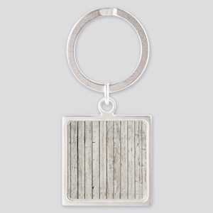 shabby chic white barn wood Square Keychain