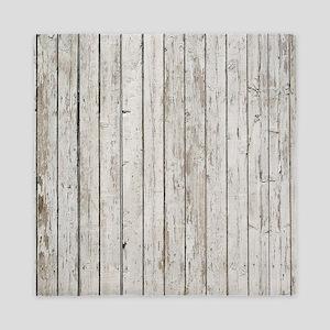 shabby chic white barn wood Queen Duvet