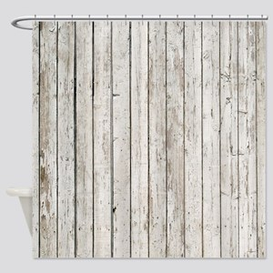 Shabby Chic White Barn Wood Shower Curtain