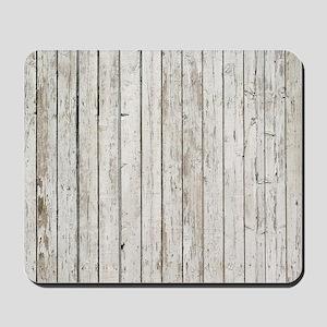 shabby chic white barn wood Mousepad