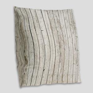 shabby chic white barn wood Burlap Throw Pillow