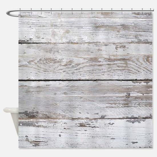 shabby chic white barn wood Shower Curtain