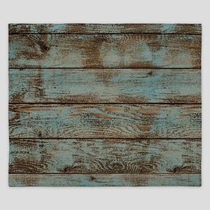 rustic western turquoise barn wood King Duvet