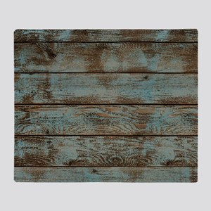 rustic western turquoise barn wood Throw Blanket