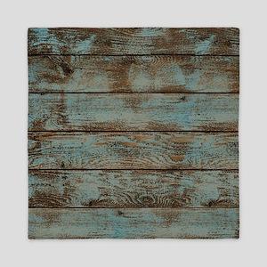 rustic western turquoise barn wood Queen Duvet