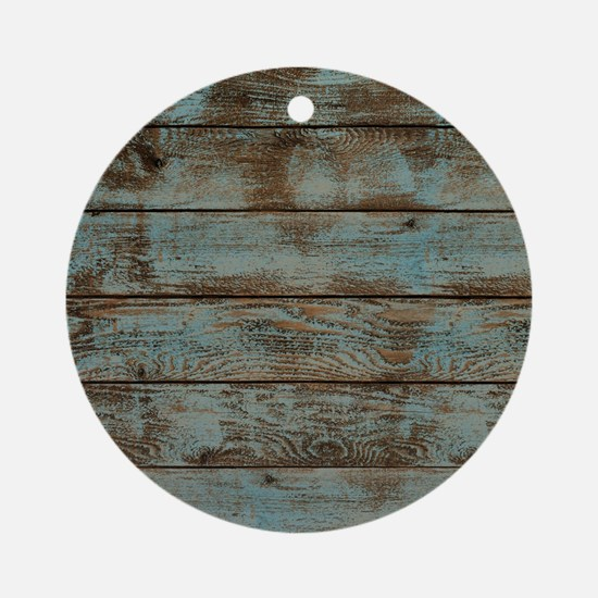 rustic western turquoise barn wood Round Ornament