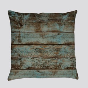 rustic western turquoise barn wood Everyday Pillow