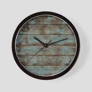 rustic western turquoise barn wood Wall Clock
