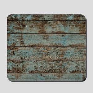 rustic western turquoise barn wood Mousepad