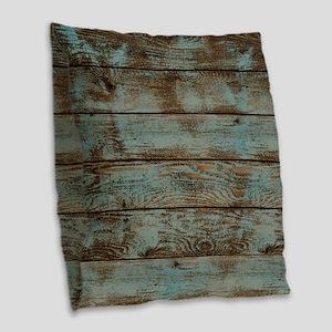 rustic western turquoise barn  Burlap Throw Pillow