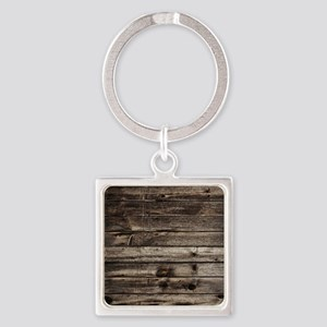 rustic primitive grey barn wood Square Keychain