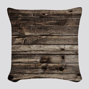 rustic primitive grey barn woo Woven Throw Pillow