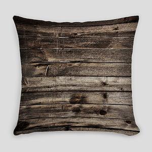 rustic primitive grey barn wood Everyday Pillow
