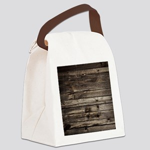 rustic primitive grey barn wood Canvas Lunch Bag
