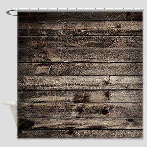 rustic primitive grey barn wood Shower Curtain